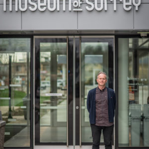 Museum of Surrey manager, Lynn Saffery, in front of the museum entrance