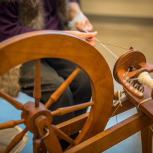 A loom in action at the Honey Hooser Textile Centre