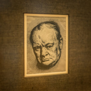 An etching if Winston Churchill on display in the 'Surrey Stories Gallery'