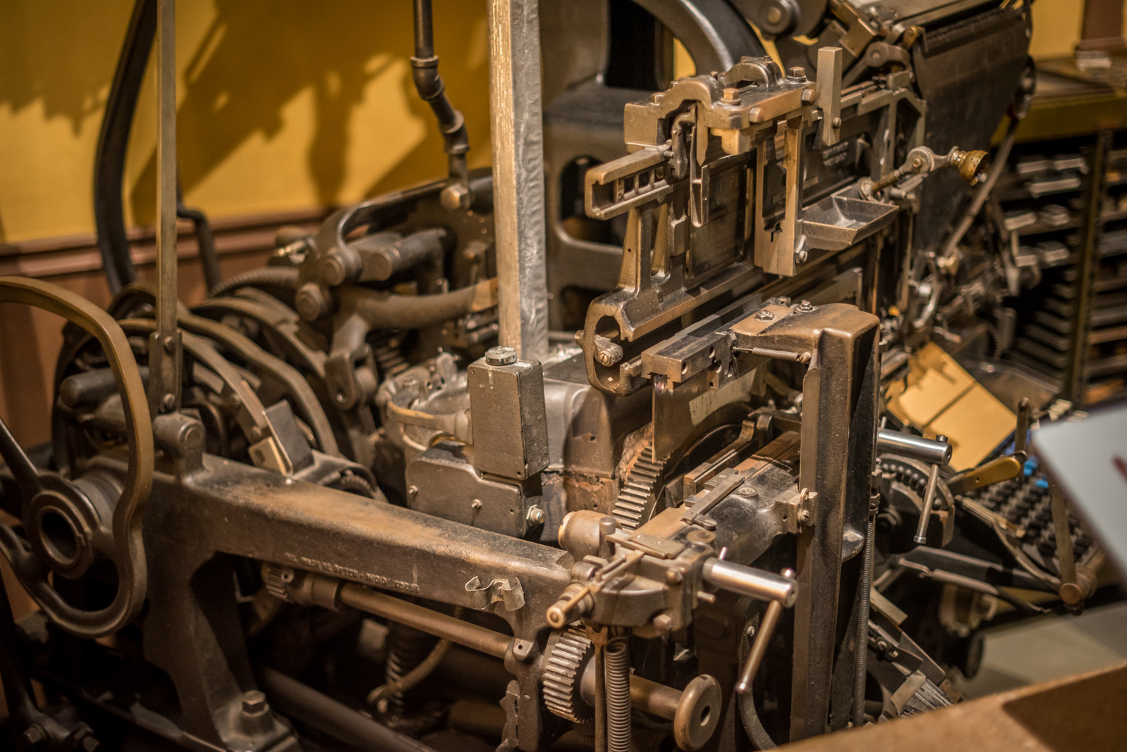 Detail of a linotype machine on display in the 'Surrey Stories Gallery'