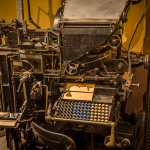 A linotype machine on display in the 'Surrey Stories Gallery'