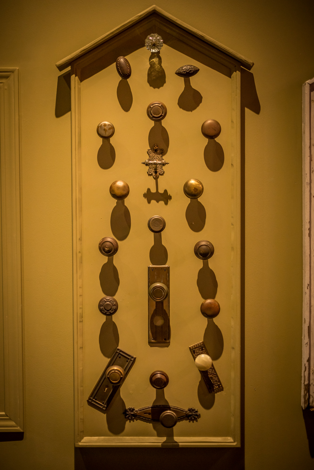 A display of vintage doorknobs in the 'Surrey Stories Gallery'