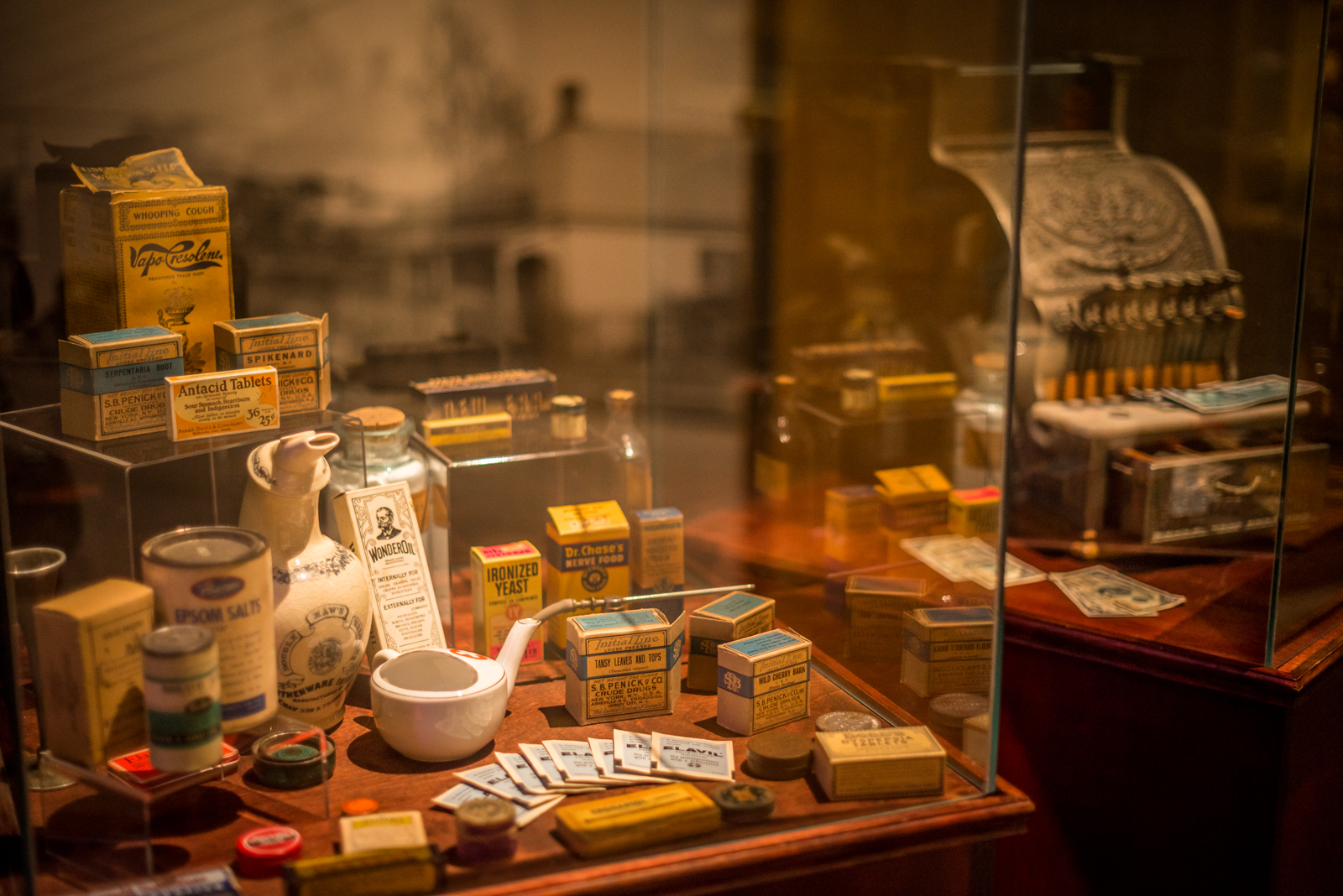 A display case from the 'Surrey Stories Gallery'