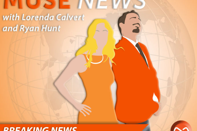 """Two illustrated people standing in front of a globe with """"breaking news"""" headline"""