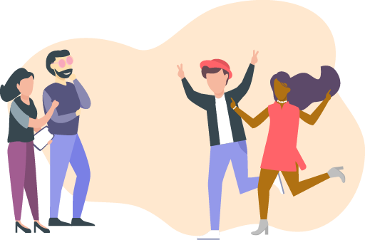 Illustration of two people excitedly running over to two other people with a checklist
