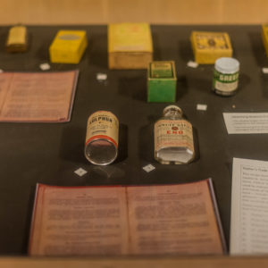 Display of recipes and medicines commonly used through the early 20th century