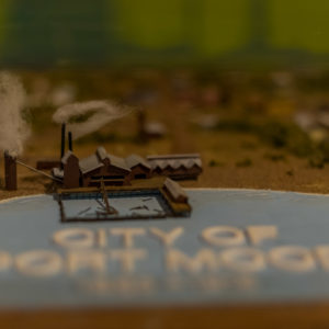 Detail of a model town of Port Moody held by the museum