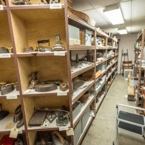 A glimpse of the stacks located in the basement of the museum