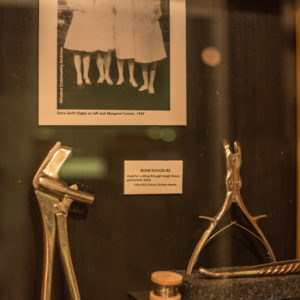 Assortment of medical equipment on display in the museum