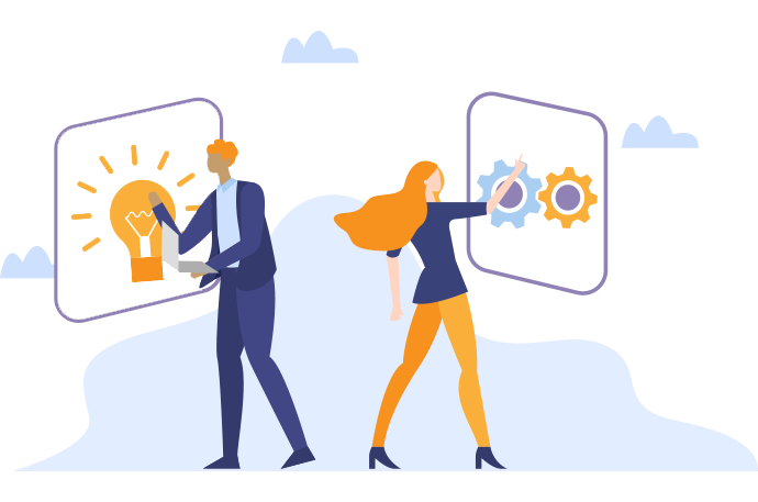 Illustration of two people using interactive screens. One screen has a lightbulb, the other has gears.