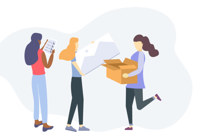 Illustration of three woman, one holding a checklist, the second holding a large canvas, and the third holding a large box.