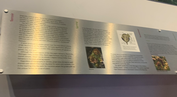 Exhibit panel that is difficult to read due to glares