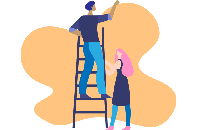 Illustration of two people. One person is on a ladder, the other is holding the ladder.