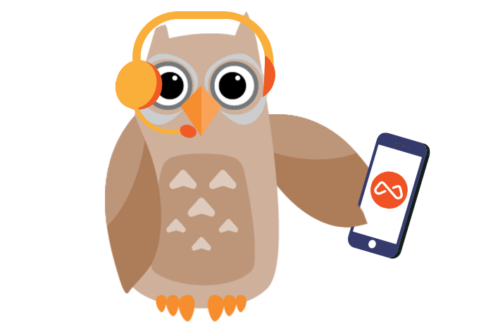Owl with headphones on listening to a bcma podcast