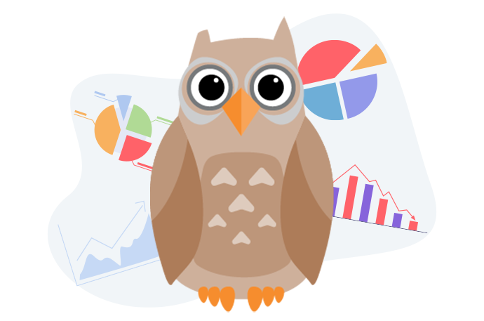 Owl with charts and graphs
