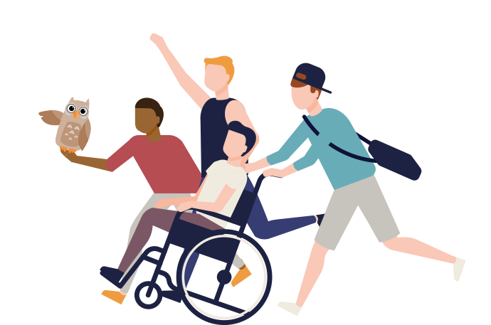 Illustration of four people with an owl. Three running, one is being pushed in a wheelchair.