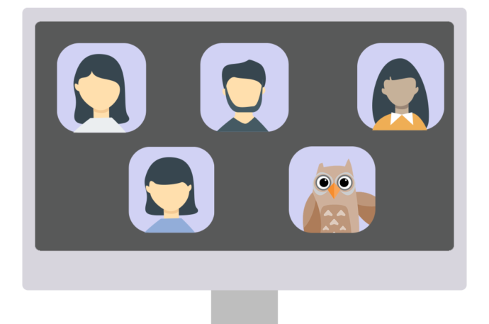 Illustration of a zoom meeting with four people and an owl.