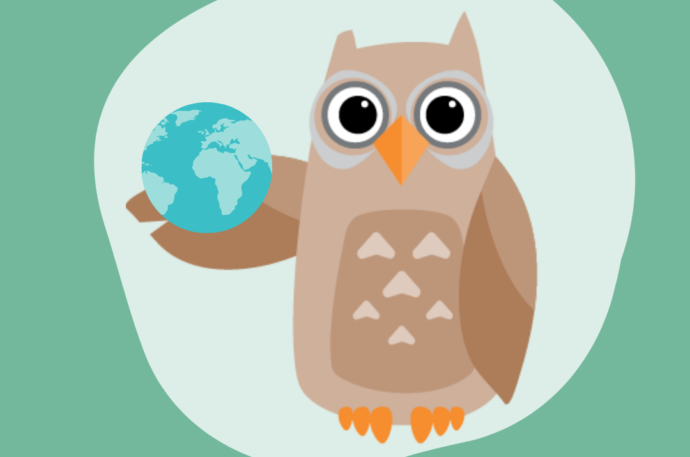 Owl holding planet earth